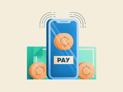 Cashless Business Illustration pay mobile money coin dollar phone business cash cashless