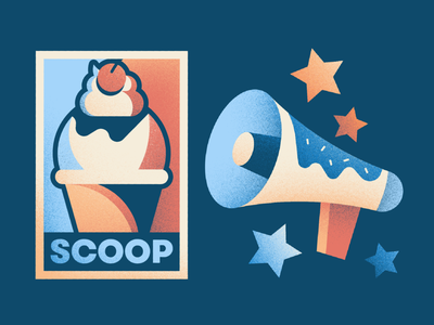 Ice Cream Campaign campaign megaphone texture brushes texture poster scoop ice cream cone ice cream