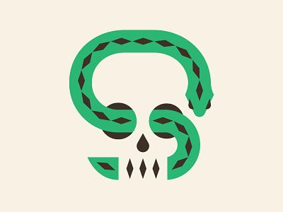 Skulls n' snakes negative space minimal illustration diamond snake skull logo