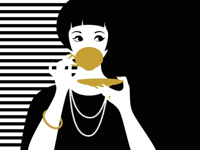 Coffee Time cup eye lady woman sip secession gold espresso illustration art deco caffe coffee