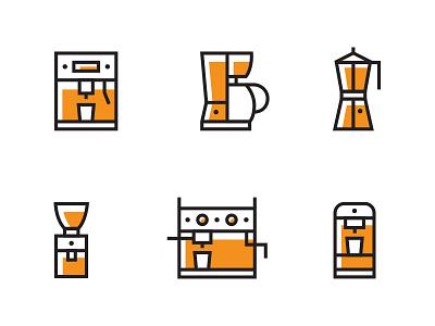 Coffee Icon Set Pt. 1 filter coffee icon coffee grinder icon espresso icon moka pot coffee machine icon set coffee