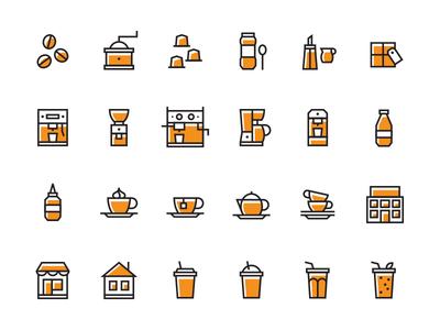 Coffee Icon Set Pt. 2 cups icon hotel icon tee icon sauce icon smoothie icon coffee capsule icon coffee grinder icon espresso icon moka pot coffee machine icon set coffee