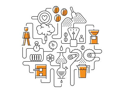 Coffee Infographics latte art machine espresso brew stop watch coffee making barista steam coffee grinder water