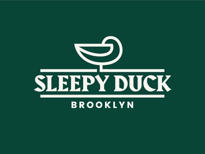 Sleepy Duck II restaurant logo blackletter duckie single line duck duck mark duck logo animal logo restaurant sleep duck