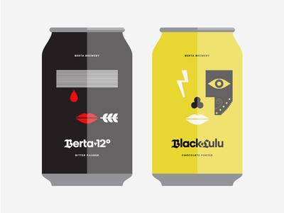 Berta Beer patchwork craft beer label craft beer blood eye lips flash portrait face label beer can beer