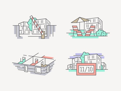Victory Port Pt. 2 house illustration tree park sunbath real estate icon icon set house