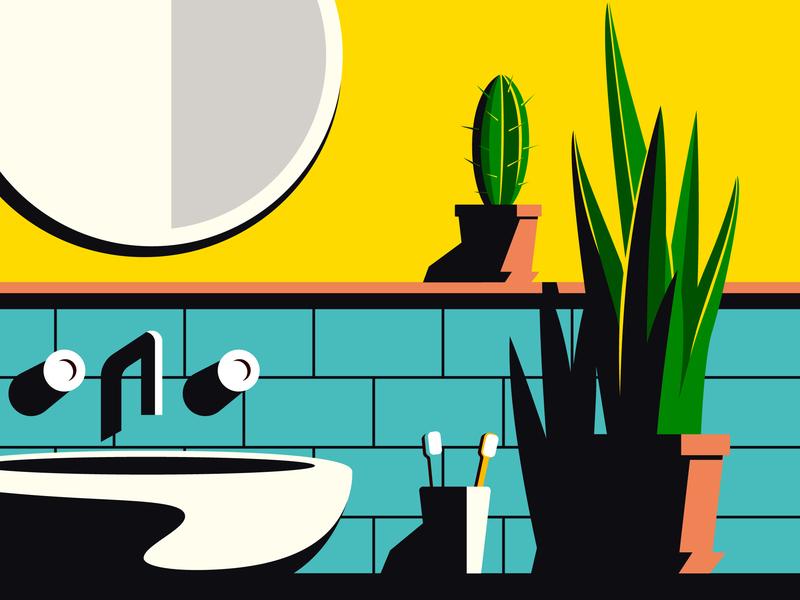Cacti cactus bathroom plant succulent cacti illustration vector