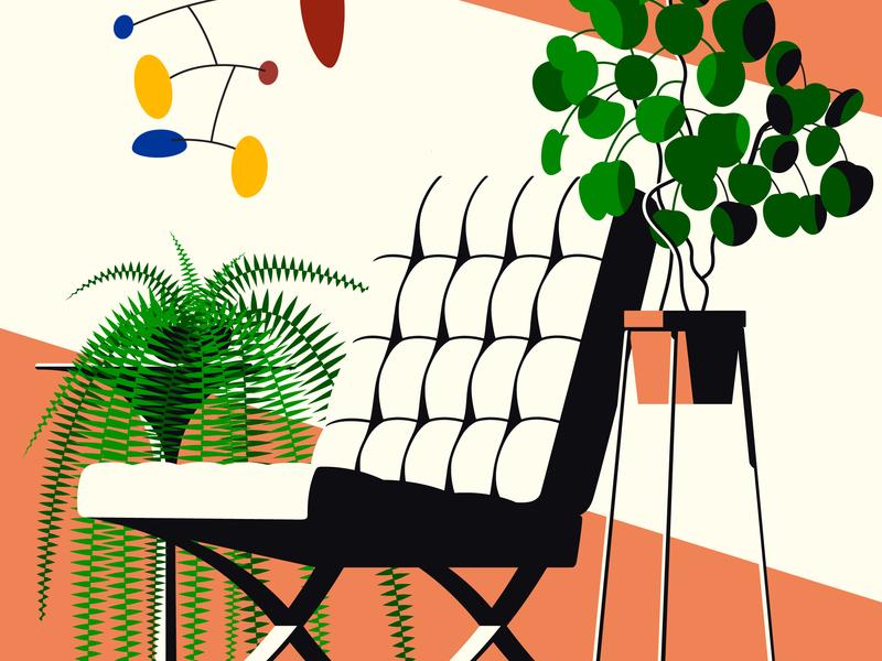 Money Plant minimal bauhaus mobile barcelona chair chair monstera interior plant plant illustration