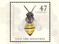 Save the Honeybee Postage Stamp Design