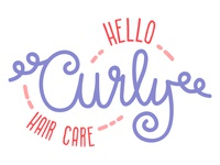 Hello Curly Hair Care Product Logo Design