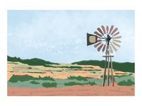 Windmill and Farmland Digital Painting
