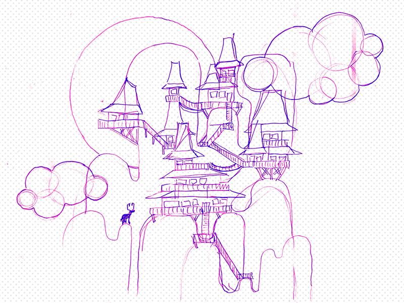 Counterstills B-ROW 04 WIP illustration landscape surreal village mountain sketch work in progress wip