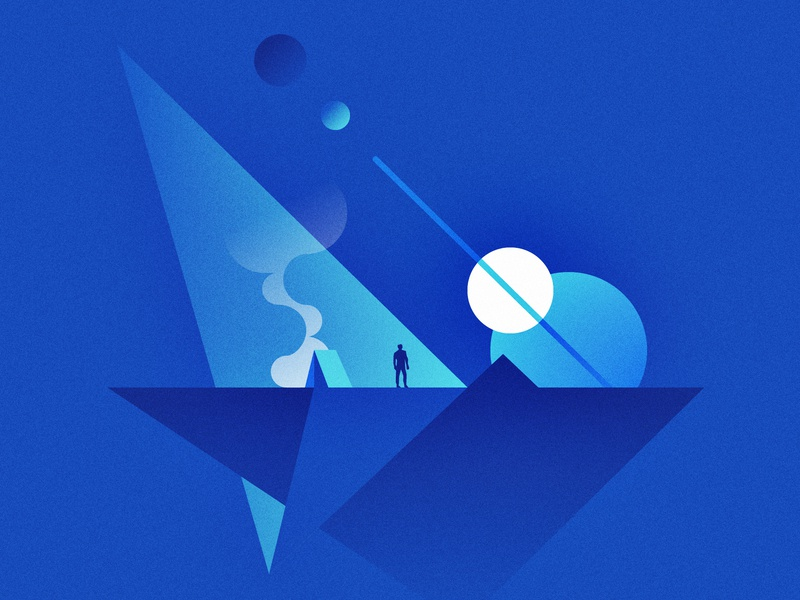 Space Camper traveling camping vector design exercise gradients planets blue simple geometic space illustration illustrator