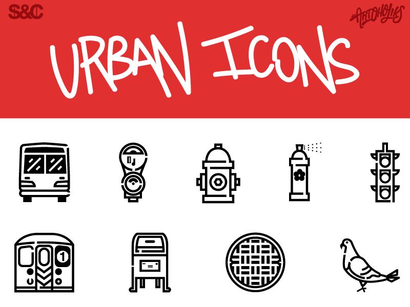 Urbanicons Final 60 traffic light parking meter subway mailbox manhole spray can fire hydrant pigeon bus free icons urban