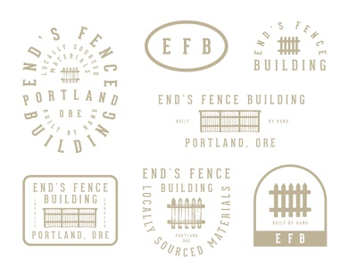 EFB logotype logos working class work blue collar oregon portland brand sheet brand type lockup badge illustration design company fence building building fence
