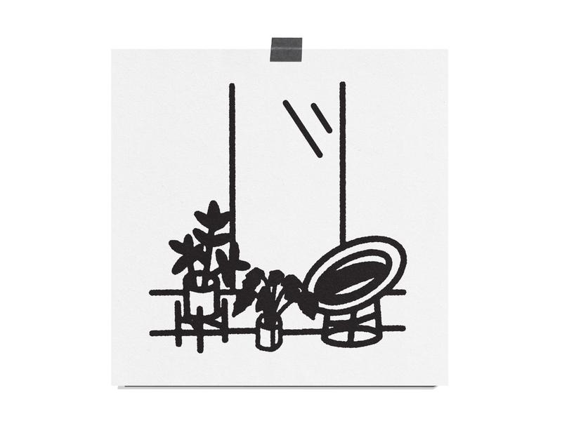Still Life 01 rubber plant plant stand midcenturymodern midcentury mcm chair window plants monoline paper black print illustration still life