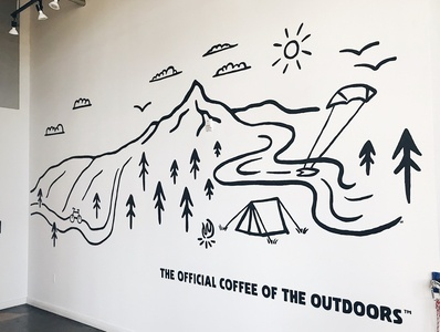 STOKED Mural illustration coffee shop coffee stoked stoked roasters campfire tent wall art outdoors simple black trees nature mural paint wall