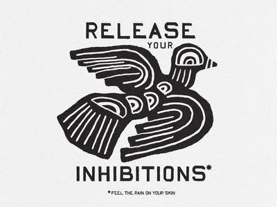 Inhibitions release inhibitions texture black natasha bedingfield pigeon dove fowl bird simple illustration design