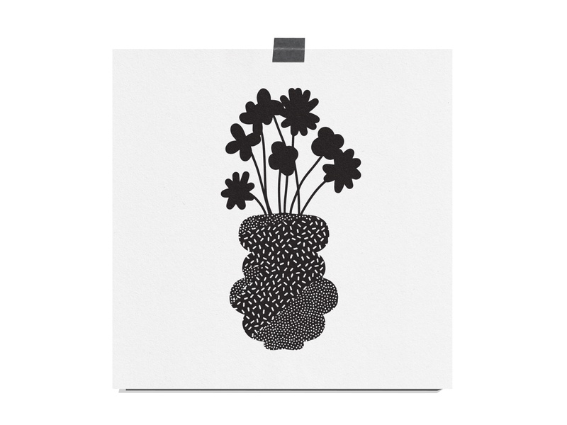 Plant Vase art print texture black and white black flowers plant illustration illustration plant vase vase plant
