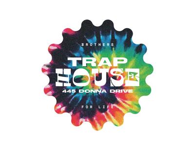 Trap House Badge design shape type treatment type art type sticker badge brothers trap house trap tie dye