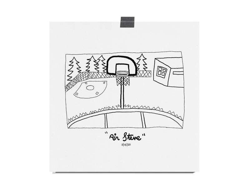 Air Steve trees print hand type daily drawing illustration building basketball court baseball field baseball park baksetball hoop basketball still life art drawing typical sports air