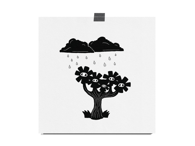 Flower Tree illustration art art texture print black and white smiley happy clouds rainclouds rain eyes flowers tree flower nature illustration