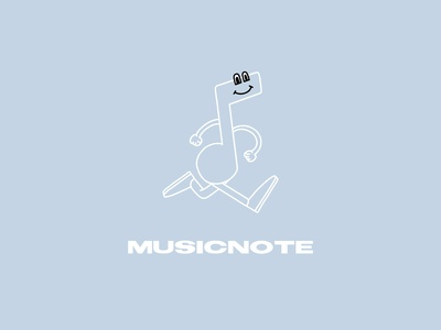 MusicNote stride music app icon brand design illustration personification note character design character music music note