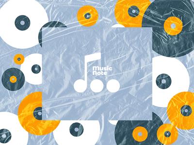 MusicNote 3 music app simple design texture records record lp dot icon design icon brand design branding brand identity logo design logo brand app icon music note music
