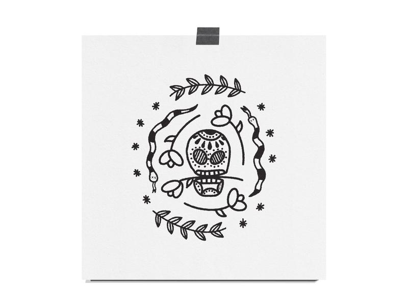 Snakes and Skull draw drawing simple design black and white texture print illustration roses flowers skull snakes snake