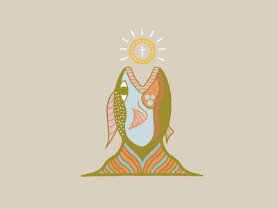 Payment of the Temple Tax drawing fish mouth coin cross story color fish illustration design illustration fish