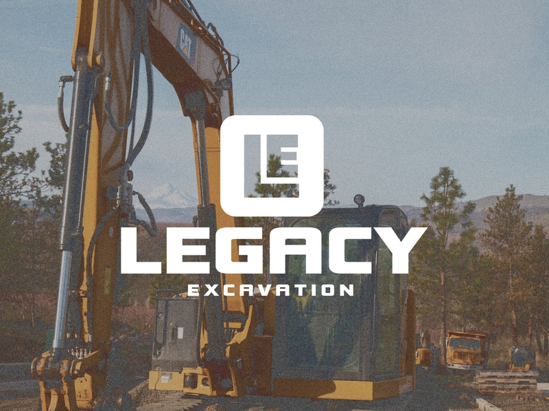 Legacy Excavation excavation company construction company construction logo construction logotype logo design logos logodesign icon design blue collar legacy excavation legacy excavation logo