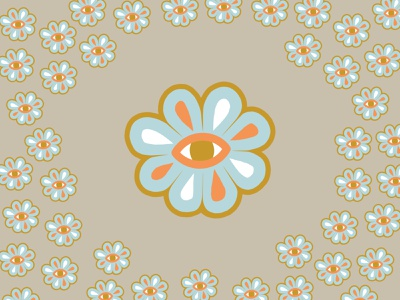 Looking to Grow color rough looking look sticker design pattern illustration eye flower