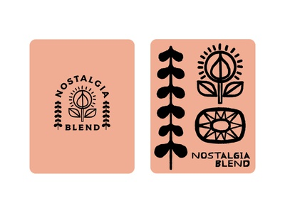 Nostalgia Blend flower tree packaging design illustration art label label design badge design badge coffee design texture rough black work light coffee plants illustration nostalgia