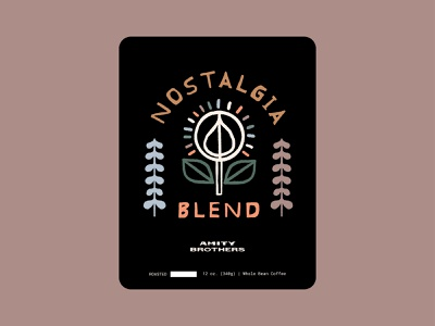 Nostalgia Blend color plants rough texture illustration art illustration design packaging tree flower badge design badge coffee brand coffee label coffee blend coffee design coffee nostalgia