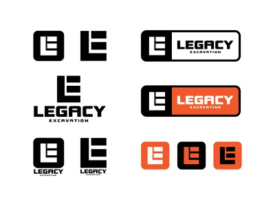 Legacy Excavation Brand Update legacy excavation logo bold construction black orange logo design design excavation lockup logo badge