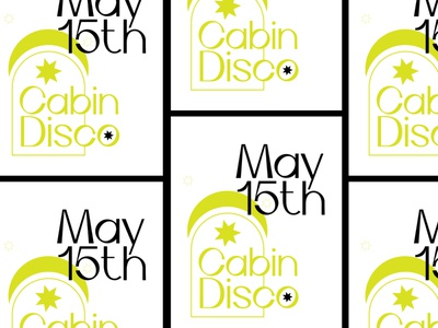 Cabin Disco simple party flyer flyer gig poster music moon star cabin design minimal party poster gig disco