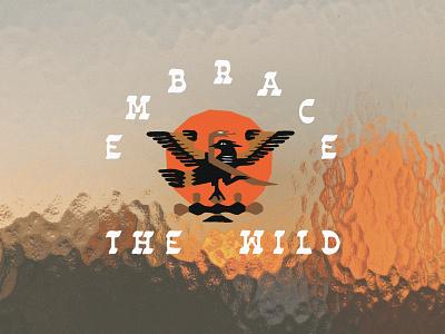 Embrace The Wild sun orange design contest idlehands embracethewild embrace wild southwest cactus snake eagle art drawing badge illustration illust design roark