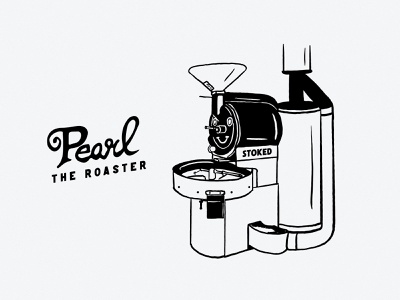 Pearl the Roaster design lettering hand type coffee design hand drawn texture blackandwhite pearl roasting machine coffee roaster coffee roaster handmade draw drawing ink illustration
