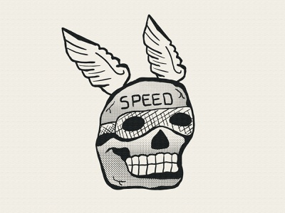 Speed Skull folk art traditional black black and grey black work halftone texture hand drawn handmade drawing wings skull speed illustration speedskull