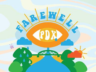 Farewell PDX Illustration flyer gig poster trippy sun trees handmade handdrawn drawing art vector type illustration design