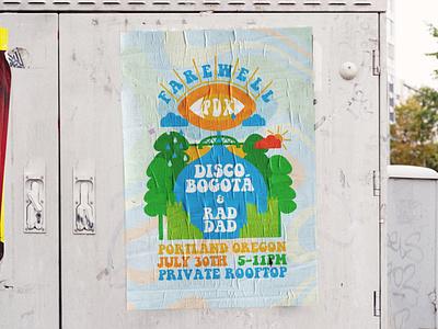 Farewell PDX gig poster trippy fun handdrawn handmade art vector texture design sun trees pdx portland illustration wheatpaste poster