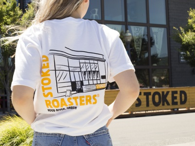 Stoked T-Shirt coffee design coffee stoked roasters stoked vector yellow texture hand drawn handmade illustration design tshirt design tshirt