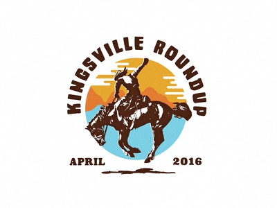 Kingsville Roundup v2 - for a Trucker hat circlular hat sunset horse western bronco cowboy