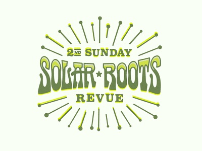 2nd Sunday Solar Roots Revue Logo halftone logo hippie green solar austin