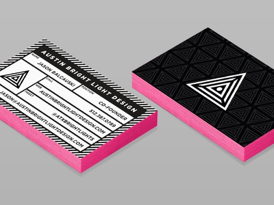 ABLD - business cards v2 identity moo luxe pink triangle light austin mockup collateral business card