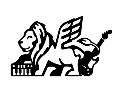One Lion Band leo mane 1 color animal wings austin synth keyboard guitar lion logo mark lion