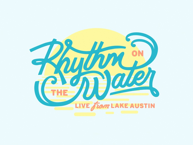 Rhythm on the Water Logo script type 3 color water music logo austin