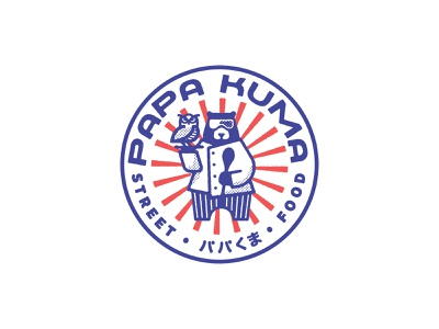 Papa Kuma Logo chef badge circle street food japanese food japanese owl food truck bear logo airshp austin