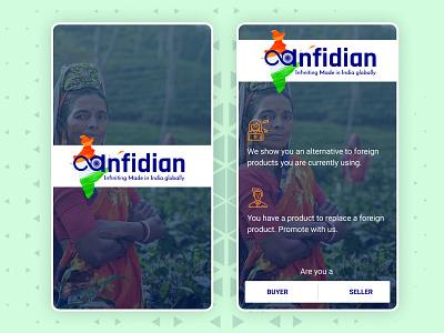 Infidian Spalsh Welcome Screen Design app mobile user interface ui illustration design blue vector material ui design