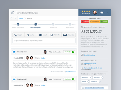 CRM Activities screen gradient grey product design crm interaction design ux